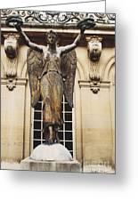 Paris Courtyard Musee Carnavalet Angel Statue - Victory Allegorical Angel Statue Greeting Card