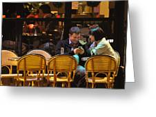 Paris At Night In The Cafe Greeting Card
