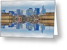 Paris La Defense And Trocadero Skyline Mirrored Greeting Card