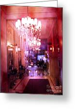 Paris Posh Pink Red Hotel Interior Chandelier Greeting Card by Kathy Fornal