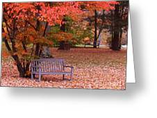 Park Bench In Fall Greeting Card