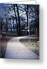 Park Path At Dusk Greeting Card