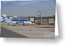 Parked Airplane At An Airport Gate Greeting Card by Jaak Nilson