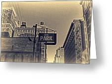 Parking In Sepia Greeting Card
