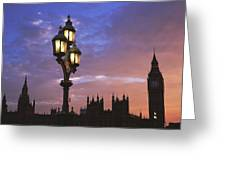 Parliament And Light At Sunset Greeting Card