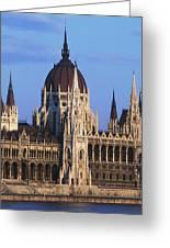Parliament Buildings On River Danube Greeting Card