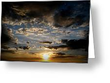 Partly Cloudy Skies At Sunset Greeting Card
