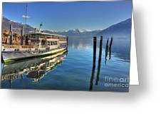 Passenger Ship Reflected On The Water Greeting Card