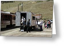 Passengers Getting Off The Galloping Goose Greeting Card