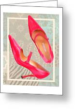 Passion Pink Strapped Pumps Greeting Card
