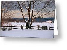 Pastoral View Of A Farm Covered In Snow Greeting Card