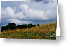Pasture Field And Stormy Sky Greeting Card