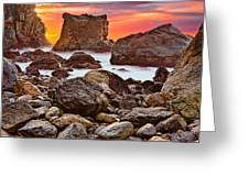 Patrick's Point Sunset Seastacks Greeting Card