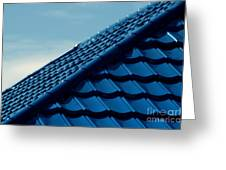 Pattern Of Blue Roof Tiles Greeting Card