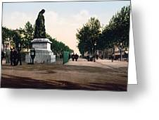 Paul Riquet Statue And The Allees In Beziers - France Greeting Card