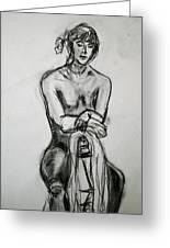 Paula - Charcoal Life Drawing Greeting Card