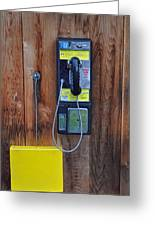 Pay Phone And Book Wooden And Yellow Greeting Card