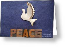 Peace Word With Dove Greeting Card