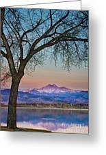 Peaceful Early Morning Sunrise Longs Peak View Greeting Card