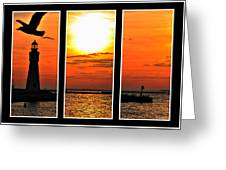 Peaceful Sunset Triptych Series Greeting Card