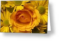 Peach Rose-yellow Daisies Greeting Card
