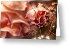 Peach Roses And Ribbons Greeting Card by Svetlana Sewell
