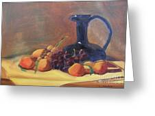 Peaches And Blue Pitcher Greeting Card by Lilibeth Andre
