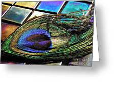 Peacock Feather On Tiles Greeting Card