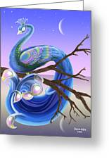 Peacock Moon Greeting Card