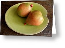 Pears On Heart Plate Greeting Card