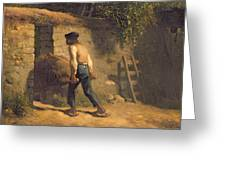 Peasant With A Wheelbarrow Greeting Card by Jean-Francois Millet