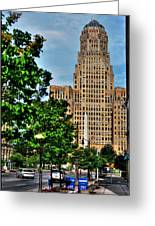 Pedestrian View Of City Hall Vert Greeting Card