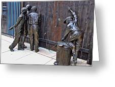 Peeking At Baseball Game Sculpture Greeting Card