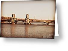 Pelham Bridge In Sepia Greeting Card