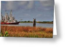 Pelican And The Red Shrimpboat Greeting Card