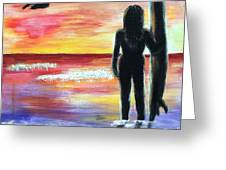 Pelican And The Surfer Girl Greeting Card