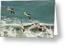 Pelicans In Flight Over Surf Greeting Card by Gregory Scott