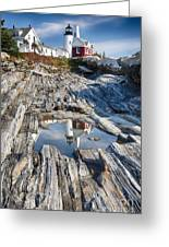 Pemaquid Point Reflections Greeting Card by George Oze