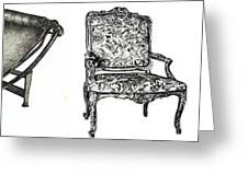 Pen And Ink Poster Of Chairs Greeting Card by Adendorff Design