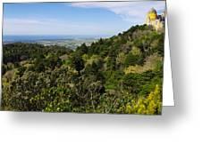 Pena Palace Panorama Greeting Card by Carlos Caetano