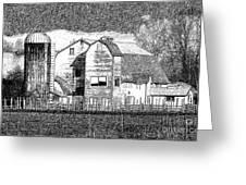 Pencil Sketch Barn Greeting Card