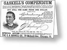 Penmanship Ad, 1887 Greeting Card