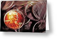 Pennies Abstract 3 Greeting Card by Steve Ohlsen
