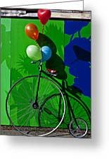 Penny Farthing And Balloons Greeting Card by Garry Gay