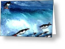 Penquin Play Greeting Card