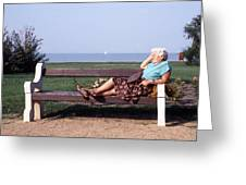 Pensioner Relaxing On A Bench Greeting Card