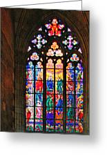 Pentecost Window - St. Vitus Cathedral Prague Greeting Card by Christine Till