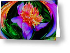 Peony Flower Energy Greeting Card