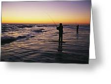 People Are Surf Fishing For Red Drum Greeting Card