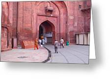 People Entering The Entrance Gate To The Red Colored Red Fort In New Delhi In India Greeting Card
